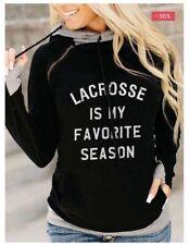 Womens Lacrosse Is My Favorite Season Sweatshirt Size M Black Gray