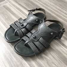 Balenciaga Gray Anthracite Brogues Flats Buckle Casual Sandals Size 37 Strappy