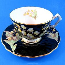 Pretty Lily of the Valley on Black Aynsley Tea Cup and Saucer Set