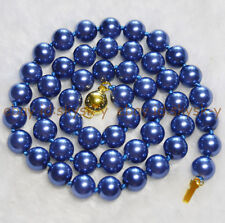 """BEAUTIFUL AAA++ 8mm DARK BLUE SOUTH SEA SHELL PEARL ROUND BEADS NECKLACE 18"""""""