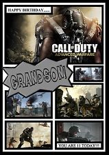 Call of duty personalised A5 birthday card dad son grandson brother nephew name