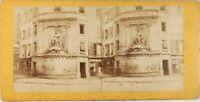 Francia Parigi Fontana Cuvier, Foto Stereo Vintage Albumina Ca 1870