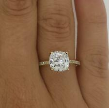 2 Ct Cathedral Pave Cushion Cut Diamond Engagement Ring VVS1 D Yellow Gold 18k