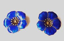 Denmark D G H Vintage Sterling Silver Clip On Earrings Blue Enamel Flower