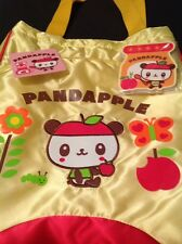 Sanrio Pandapple Panda Yellow Satin Tote Bag, Notepad & Stickers 2007 NWT Rare!