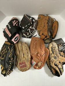 Lot of 7 All Sizes and Brands Baseball Gloves For Restoration Project