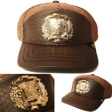 Dominican Republic Snapback Hat Brown Snake Skin Leather Gold badge Wool Cap