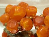 Kramer Signed Vintage 1960's Orange Lucite Cluster Flower Clip  Earrings 728jn9