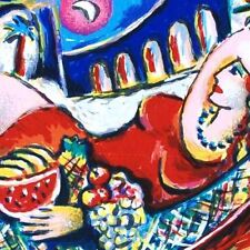 """Zamy Steynovitz """"The Rest"""" Lady red dress resting Hand Signed/Numbered Serigraph"""