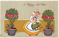New Year Postcard Dutch Girl Use Watering Can to Water Potted Rose Bushes~114122