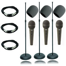 3 Pack On Stage MS7201B Round Base Microphone Stand+ Cad Cardoid  Dynamic Mic