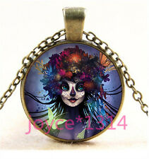 Sugar Flower Girl Cabochon bronze Glass Chain Pendant Necklace TS-5797