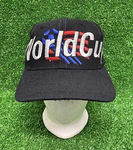 Vintage 1994 Adidas World Cup USA 94 Snapback Hat Cap Wool 90s Trefoil Black