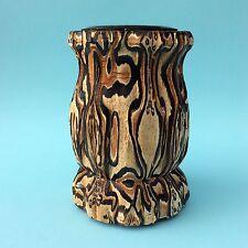 VINTAGE VASE NEW ZEALAND MAORI PONGA Fern Tree Wood Natural Art Pacific UNIQUE