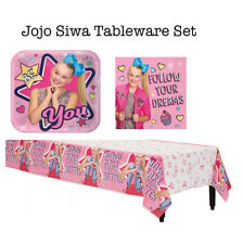 Jojo Siwa Pink Girls Birthday Party Tableware Set Napkin Plates Table Cover