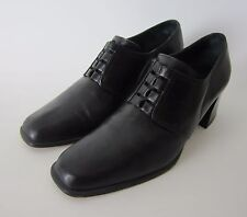 Nickels Black Leather Shoe Boot Shootie Made In Italy Block Heels Womens US 8.5
