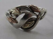 Sterling Silver & 12k Yellow Gold Leaf Ring Size 8.25 #GLR4645