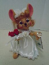 """Annalee Blushing Bride Mouse Wedding Mice Macy's Red Hair 7"""" New Diamond Ring"""