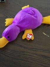 TY Beanie PILLOW PAL Rare PADDLES PLATYPUS 1998 Buddy PLUSH STUFFED ANIMAL