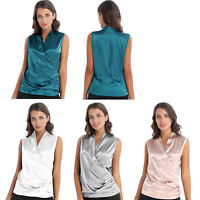 Women's Cross Wrap Top Sleeveless Satin Shirt Blouse Tunic Ruched Shirt Tank Top