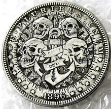 Best Hobo Nickel 1896 Dollar Skull Skeleton Anchor Sailor Carpe Diem Casted Coin