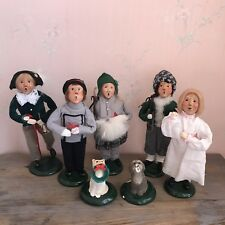 Byers Choice The Carolers Vintage Set Of 7 Christmas Boy Girl Man Woman Dog Cat