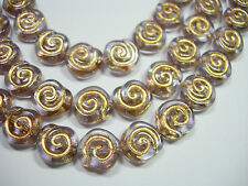 19 - 10mm Soft Lilac with Gold Snail Shell Swirl Spiral Coin Czech Glass Beads
