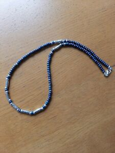 Dark blue glass seed necklace with silver embellishments ~ hippy love beads