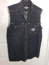 Harley Davidson Denim Muscle Sleeveless Button Vest Shirt Raw Hem Embroidered M