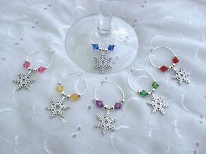 6  ASSORTED WINE GLASS CHARMS CHRISTMAS SNOWFLAKE TABLE DECORATIONS SECRET SANTA