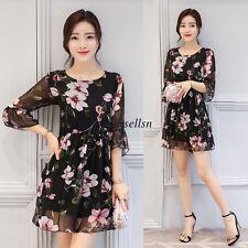 Summer Korean Women Chiffon 3/4 Sleeve Floral Slim A Line Party Short Mini Dress