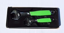 Snap On Tools Adjustable Wrench Set, 2pc. Flank Drive With Green Cushion Grips