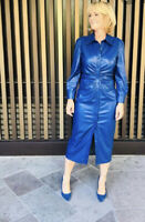 Zara Blue faux leather gathered shirt dress size M Bloggers Fave