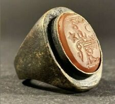 Ancient Roman Bronze Ring With Carnelian Intaglio Seal With Inscriptions C.100Ad