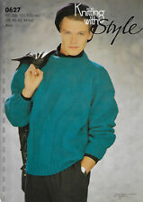 Men's Zig-Zag Textured Sweater KWS 627 knitting pattern 10 ply aran yarn