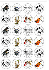 24 PRECUT Musical Instrument Music Proms Edible Wafer Paper Cupcake Cake Toppers