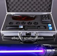High Powerful Blue Laser Pointer Laser Pen Adjustable Focus Burn Match 2x16340