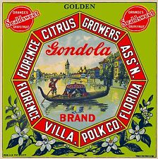Florida Florence Villa Gondola Venice Italy Orange Fruit Crate Label Art Print 2