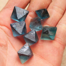 100% Clear Blue Fluorite Crystal Natural point octahedron Rough Specimens New