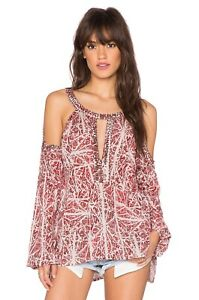 Free People Good Morning Red Abstract Beaded Cold Shoulder Tunic Top Blouse Sz S
