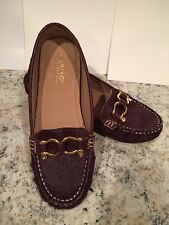 Sperry Top-sider Jenna Loafers Flats Fur Leather Driver Moccasins Burgundy 6 M