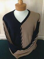 New NWT Mens Pringle Soft Wool L V-Neck Navy and Khaki Long Sleeve Sweater