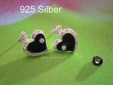 925 Silber- Ohrstecker- Schwarzes Herz mit funkelden Zirkonia Stein -Obsidian