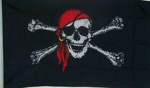 RED BANDANA PIRATE SKULL & BONES FLAG NEW 3x5ft DOUBLE SIDED premium quality