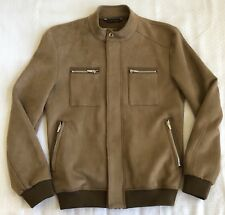 ZARA Faux Suede Leather Shearling Jacket Full Zip Coat Mens Size Small 38 Brown