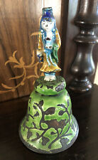 Antique Chinese Asian Figural Bell Enameled Cloisonne Woman With Jar And Ring