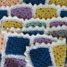 Handmade Crocheted Multi Color Granny Square Afghan Throw Sofa Lap Blanket 38X56