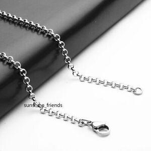 3/4mm Ankerkette Edelstahl Damen Herren Erbsenkette Rolokette Halskette 50-80cm