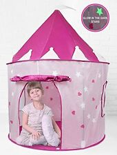 Click n' Play Girl's Pink Princess Castle Play Tent Features Glow in the Dark