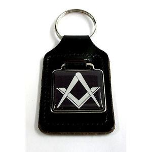 Masonic Freemason Key Ring - Black, on a black leather key ring fob